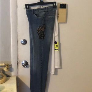 INC Macy's stretch jeans with sequence design